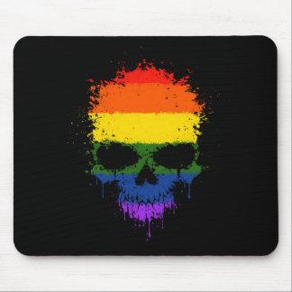 Gay Pride Rainbow Dripping Splatter Skull Mouse Pad