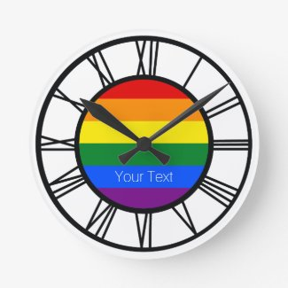 Gay Pride Rainbow Flag LGBT Personalized Round Clock