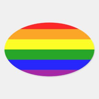 Gay Pride Rainbow Flag Oval Sticker