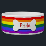 "Gay Pride Rainbow Flag Personalized Bowl<br><div class=""desc"">Gay pride rainbow pride  flag Personalized pet bowl .. dog bowls from Ricaso .. perfect pet products with customizable options .. give your fur friend that unique gift .. add your pets name to this union jack dish</div>"