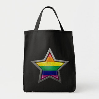 Gay Pride Rainbow Flag Star Tote Bag