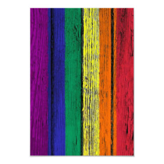 Gay Pride Rainbow Flag with Wood Grain Effect 3.5x5 Paper Invitation Card