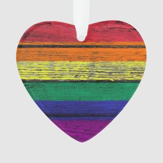 Gay Pride Rainbow Flag with Wood Grain Effect
