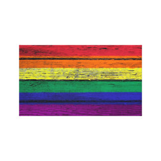 Gay Pride Rainbow Flag with Wood Grain Effect Stretched Canvas Print