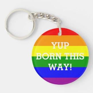 Gay Pride Rainbow Flag Yup Born This Way Keychain