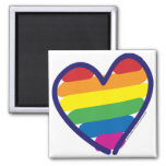 Gay Pride Rainbow Heart 2 Inch Square Magnet