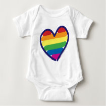 Gay Pride Rainbow Heart Baby Bodysuit