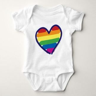 Gay Pride Rainbow Heart Baby Bodysuit