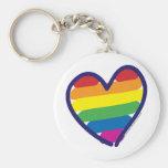 Gay Pride Rainbow Heart Basic Round Button Keychain