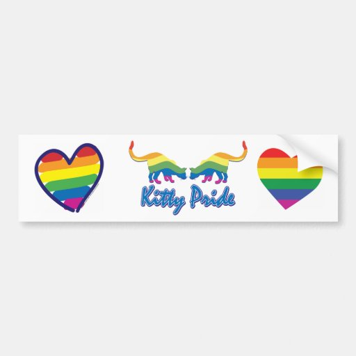 Gay Pride Rainbow Heart Bumper Stickers