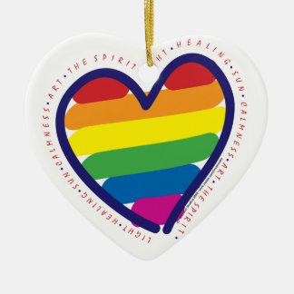 Gay Pride Rainbow Heart Ceramic Ornament