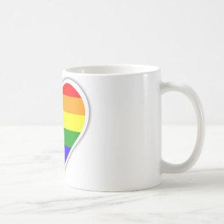 Gay pride rainbow heart coffee mug