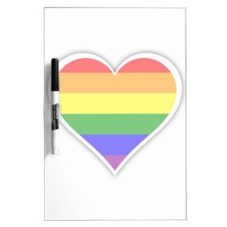 Gay pride rainbow heart dry erase whiteboards