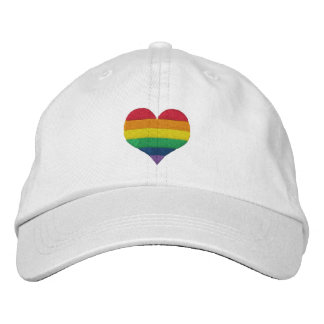 Gay Pride Rainbow Heart Embroidered Baseball Cap