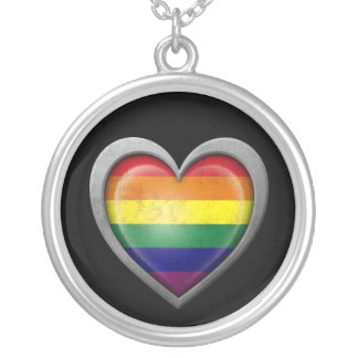 Gay Pride Rainbow Heart Flag with Metal Effect Round Pendant Necklace