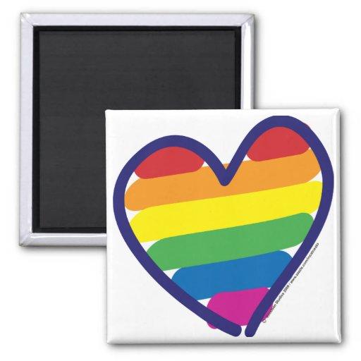Gay Pride Rainbow Heart Magnets