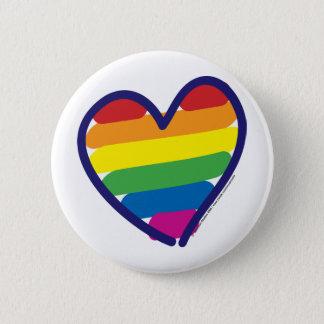Gay Pride Rainbow Heart Pinback Button