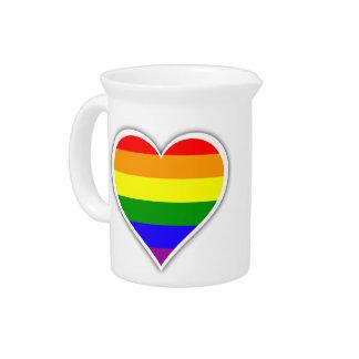 Gay pride rainbow heart beverage pitchers