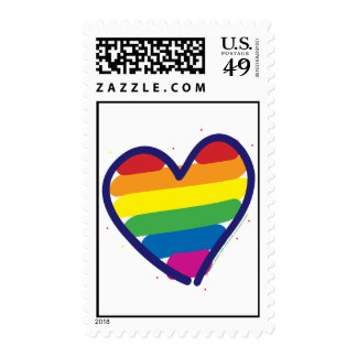 Gay Pride Rainbow Heart Postage Stamps