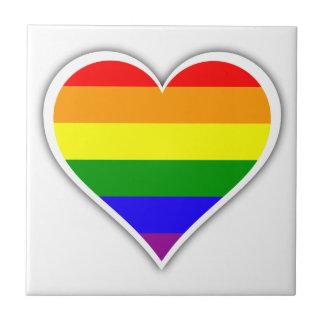 Gay pride rainbow heart tile