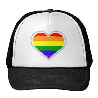 Gay pride rainbow heart trucker hat