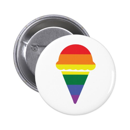 Gay Pride Rainbow Icecream Button