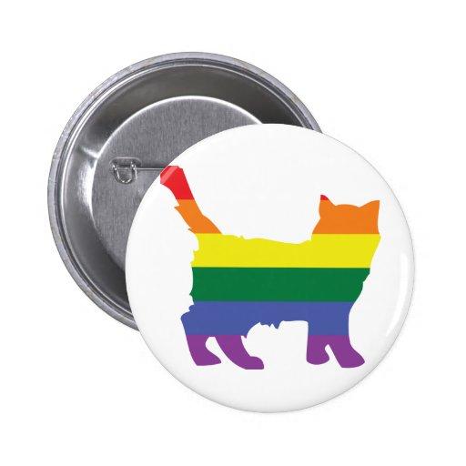 Gay Pride Rainbow Kitten Button