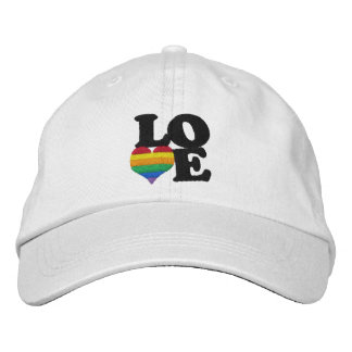 Gay Pride Rainbow Love Heart Embroidered Baseball Cap