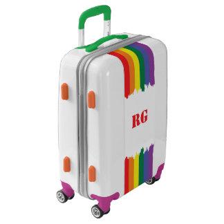 Gay Pride Rainbow Monogrammed Paint Drip Designer Luggage