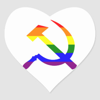 Gay Pride Rainbow Soviet Hammer And Sickle Heart Sticker