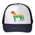 Gay Pride Rainbow Stripe Horse Mesh Hat