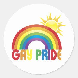 Gay Pride Rainbow Sun Classic Round Sticker