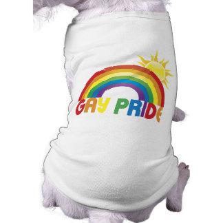 Gay Pride Rainbow Sun Doggie Tee Shirt
