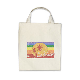 Gay pride Rainbow sunset distressed 80s style bag