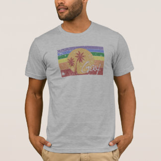 Gay pride Rainbow sunset distressed t-shirt
