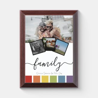 Gay Pride Retro Rainbow Personalized Family Award Plaque