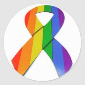 gay pride ribbon classic round sticker
