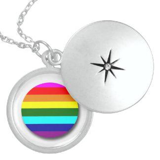 Gay Pride Round Locket Necklace