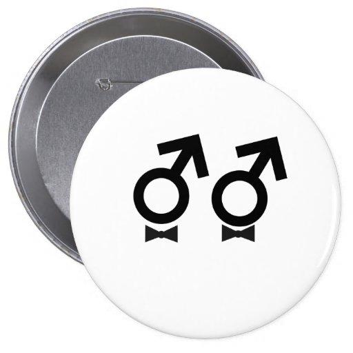 Gay Pride same sex male bw 4 Inch Round Button