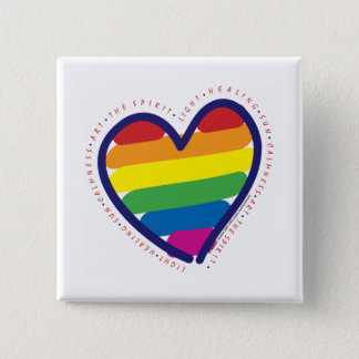 Gay Pride Spirit Heart Pinback Button