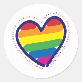 Gay Pride Spirit Heart Classic Round Sticker