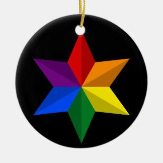 Gay Pride Star Ceramic Ornament