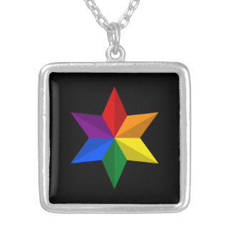 Gay Pride Star Square Pendant Necklace
