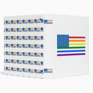Gay Pride US Flag - Red, White, & Rainbow Stripes 3 Ring Binders