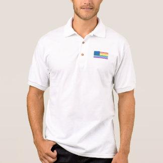 Gay Pride US Flag - Red, White, & Rainbow Stripes Polo Shirt