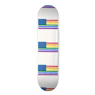 Gay Pride US Flag - Red, White, & Rainbow Stripes Skateboard Deck