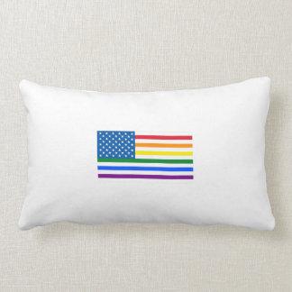 Gay Pride US Flag - Red, White, & Rainbow Stripes Throw Pillows