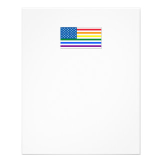 Gay Pride US Flag- Red White & Rainbow - w/Outline Flyer