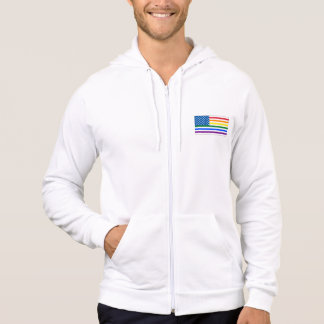 Gay Pride US Flag- Red White & Rainbow - w/Outline Hoodie