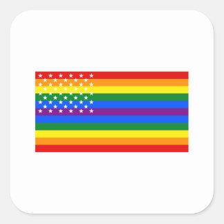 Gay Pride US Flag - Stars and Stripes Square Sticker